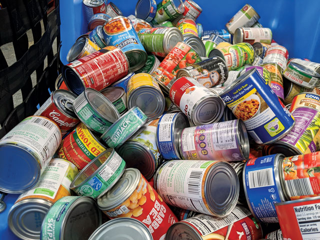 Donated Cans In Bin