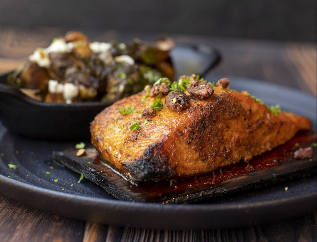 Cedar Plank Chipotle Maple Bourbon Salmon