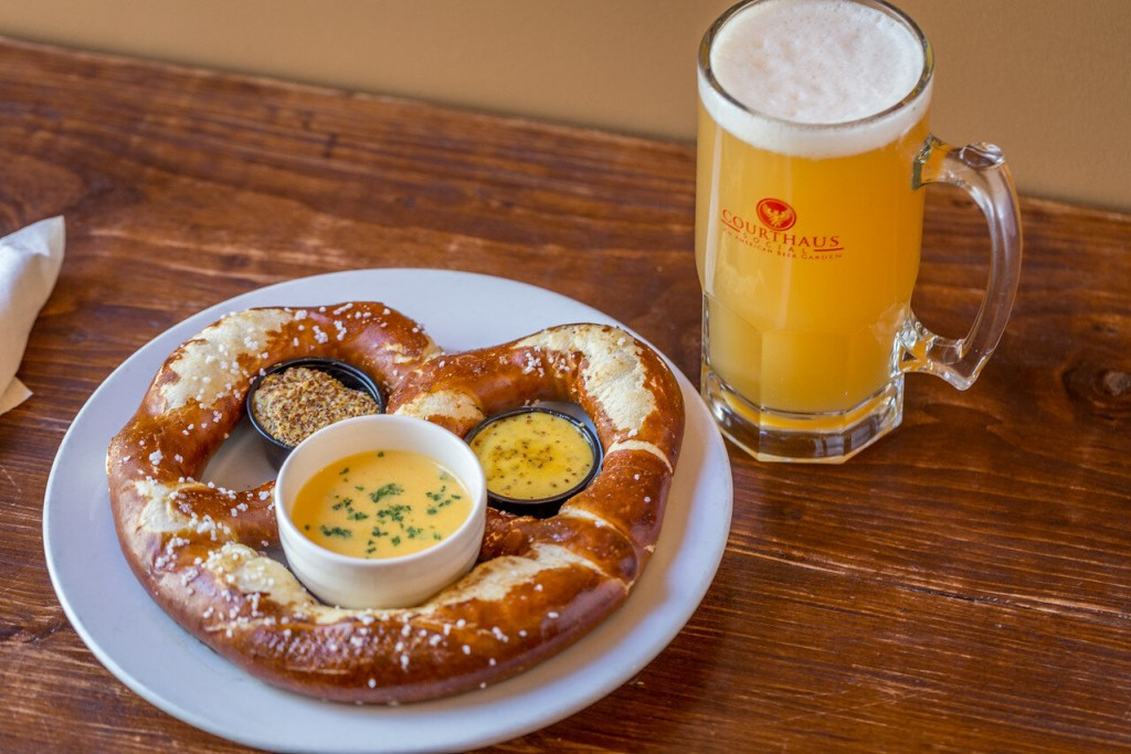 Big Haus Pretzel With Beer Cheese, Mustards And A Stein