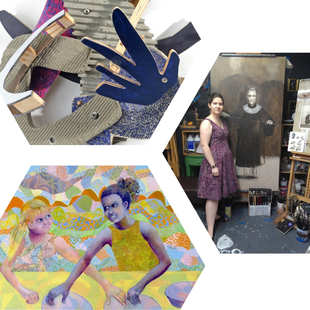 Ean Sausele Knodt A Day At The Beach , Sarah Bentley In Her Studio, Sharon Malley Mudpies